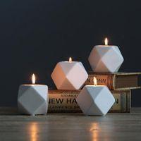 Candle Holders Ceramic Tealight Hexagon Shaped Geometric Pillar Holder Elegant Candlestick Tabletop Decor Home Furnishing Desk