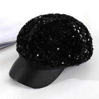 بخيل حافة القبعات الخريف الشتاء للنساء مع الترتر مثمنة قبعات السيدات عارضة الصوف قبعة قبعة قبعة HR122305