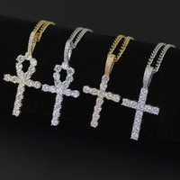 Cuban Link Chain Hip Hop Cross Diamonds Pendant Necklaces For Men Women Gift Luxury Necklace Gold Plated Copper Zircons Party Lover Gift Jewelry