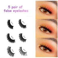 False Eyelashes 5 Pairs Faux Mink Hair Wispy Fluffy Long Lashes Natural Handmade Fake Eye Makeup Extension Tool Fashion