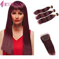 Indian Virgin Hair Straight 3 Bundles Borgoña Indian Weft Bundles Borgoña 99J Indian Straight Hair Borgoundy Human Bundle con cierre