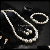& Sets Jewelrywomen Beads Bridal Earrings Aessories Simated Pearl Wedding Set Crystal Necklace Earring Bracelet Jewelry Party Gift Drop Deli