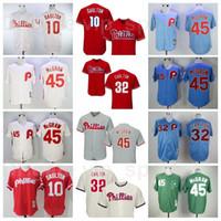 Retire 1921 1948 1950 1983 Vintage Baseball 45 Tug McGraw Jersey Retro 32 Steve Carlton 10 Darren Daulton 8 Juan Samuel costurou Flexbase
