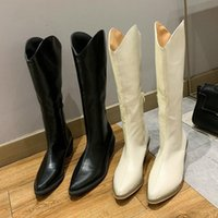 Boots 2022 INS Women Beige High Heels Wedges Long Lady Riding Cowboy Autumn Designer Pointed Toe Knee-High