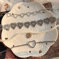 Pendant Necklaces 1pc Heart Chain Goth Choker Necklace For Women Collar Aesthetic Valentines Party Jewellery Girl
