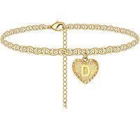 القلب الأحرف الأولى الكاحل سوار 14 كيلو مطلية بالذهب إلكتروني خلخال حافي القدمين شاطئ مجوهرات اكسسوارات الساق سوار للنساء فتاة مجوهرات 252 T2