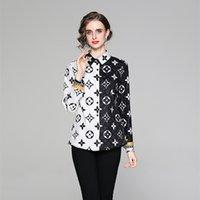 Качество Классические печатные рубашки Взлетно-посадочная полоса Элегантная женская дизайнерская блузка Весна Осень Офис Дамы Красивый длинный рукав кнопки рубашки