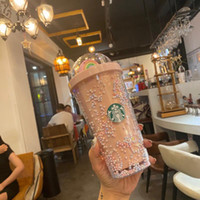 DHL 450ml lindo arco iris Starbucks Taza de plástico doble con pajitas Material para mascotas para niños Girlfirend para adultos para productos de regalo