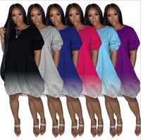 Women Dress Designer Slim Sexy Short Sleeve New Large Solid Gradient Color Ladies New Casual Dress 6 Colours