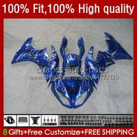 Injektionsfeedningar för Kawasaki Ninja 600cc ZX 6R 6 R 636 600 CC 2009-2012 13NO.38 ZX600 ZX636 ZX6R 09 10 11 12 ZX-636 ZX600C ZX-6R 2009 2010 2011 2012 OEM Bodys Blue Silveryy