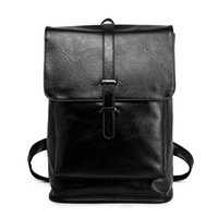 Backpack Vintage Black Men PU Leather Waterproof Male With Double Belt Mochila Travel Bag Man Laptop Boy School