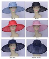 Ganze große Krempe Kleid Kirche Sinamay Frauen Hut für WeddingKentucky DerbyracesRedblackNavy Blau