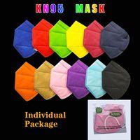 13 색 KN95 보호면 마스크 성인 방진 방지 방지 통기성 5 층 디자이너 보호 마스크 개별 패키지