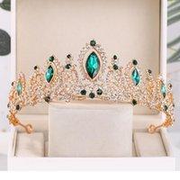 Mariée de mariage cristal vert de luxe Tiaras et couronnes Queen Diadem Pareant Partie Crown Crown Bridal Cheveux Cheveux Hair