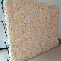 10pcs / lot 60x40cm Romantico ortensia rose artificiale muro di fiori per la parete di nozze Stage e decorazioni sullo sfondo Molti colori