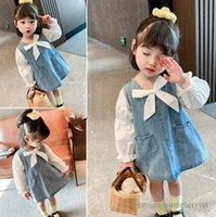 Мода девушки луки галстуки принцессы платья детей джинсовые сращивание Falbala рукав A-Line платье 2021 осень детская одежда Q1025