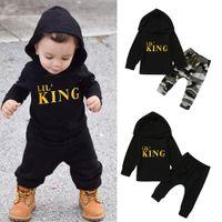 2021 Новый малыш дети дети мальчика буква с капюшоном футболки Tops + камуфляжные штаны наряды новорожденные набор детский костюм высокое качество