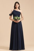 Dark Navy Long Chiffion Bridesmaid Dresses A Line One Shoulder Pleats Boho Beach Wedding Guest Dress Floor Length Maid Of Honor Gowns