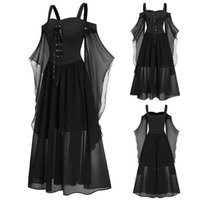 Casual Kleider 40 # Gothic Mittelalterliches Kleid Cosplay Carnival Halloween Frauen Plus Größe kalte Schulter Schmetterlingsschlauch Lace Up