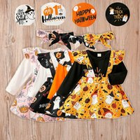 Infant Clothing Sets Girls Outfits Baby Clothes Kids Wear Spring Autumn Long Sleeve Rompers Jumpsuit Pumpkin Strap Skirt Headbands 3Pcs Halloween B7475