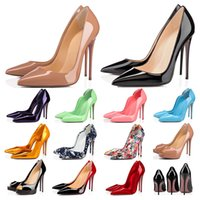 مصمم أحذية رياضية حتى كيت أنماط الكعب العالي قيعان حمراء الكعوب 8 10 12 سنتيمتر جلد طبيعي بوينت تو مضخات المطاط حجم 35-42 WithBox