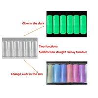 Blank di sublimazione Due funzioni Tumbler dritto Entrambi Glow In The Dark Tumbler UV Colore Cambiare la tazza Acciaio inossidabile Doppia parete con coperchi e paglia