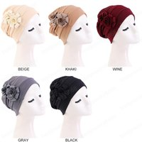 Women Flower Style Turban Cap With Elastic Beanie Soild Color Headwrap Woman Chemo Caps Hair Accessories Bandanas