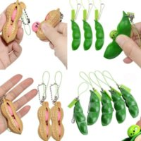 Decompression Toy Phone Straps Squeeze Extrusion Bean Peanut Keychains Pea Soybean Keyring Edamame Fidget Toys Kids Gift ADHD Vent Balls Toys