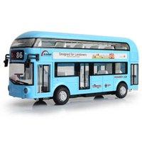 alloy double deck tour bus air conditioned city model children's return sound light toy car