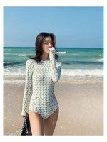 Большой размер женщин купальник пляж мода корейский цельный костюм полный плавкий для с тонкой рукавом без спинки