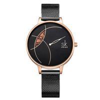Top Shengke di alta qualità orologio da donna orologio al quarzo vestito da polso da polso in acciaio inox cinturino in acciaio inox cinturino 001 regalo di compleanno per le donne
