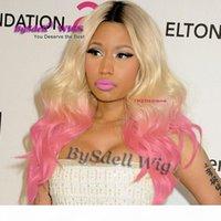 Sıcak Satış Ünlü Nicki Minaj Hairstyle Dantel Ön Peruk Sentetik Siyah Ombre Sarışın Için Pembe Kırmızı Renk Dantel Ön Peruk Satılık