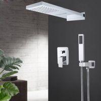 Shower Faucets Wall Mount 3 Function Chrome Bath Faucet Set Waterfall Rainfall Head Handshower Mixer Tap