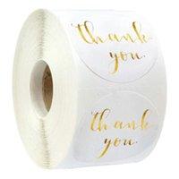 Autoadesivi di etichetta di carta rosa Gold Grazie Sticker Scrapbooking 500pcs per carta regalo di nozze Business Packaging Cancelleria Adesivo 119 S2