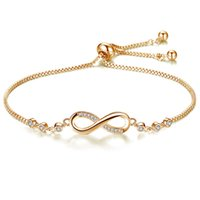 Infinite Endless Love Chain Link Bracelet Infinity Charm Bracelets for Women Adjustable Crystal Fashion Jewelry