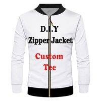 Men's Jackets CJLM 3D Print Diy Custom Design Jacket Clothing Hip Hop Streetwear Zip Sweatshirt Wholesalers Suppliers Drop Shipper SS0J