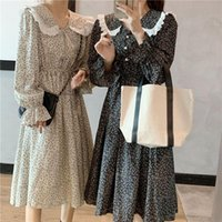 Casual Dresses HFJ Early And Autumn Clothing 2021 Style Spring Floral Dress Women's Fat MM French Break Fried Street Chiffon One-piece