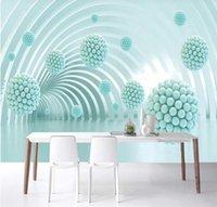 Benutzerdefinierte Tapete Wandbild 3D / 8D3D Dreidimensionale abstrakte Architekturraum Polygonal Ball TV Hintergrund Wand