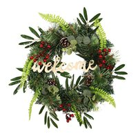 Novelty Items Artificial Olive Branch Pine Needles Mixed Welcome Wreath For Front Door Wall Window Farmhouse Home Christmas Decoration