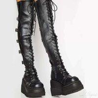 Design Female High Platform Thigh Boots Fashion Buckle Punk Heels Women Cosplay Wedges Woman Botas Mujer