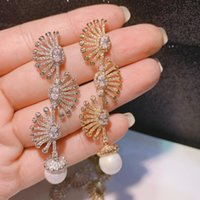 Moda Marka Popularna Luksusowa Perła Pearl Cyrkon Kropla Wentylator Dangle Kolczyki dla kobiet 2 Kolory E7962