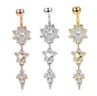 Bellijouxy Dangle Barres Bagle Boite Boite Cz Crystal Flower Bijoux Bijoux Navel Piercing Anneaux Mya30 Drop Livraison 2021 FPN1C