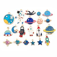 Mix 20Pcs Pack Classic Space Universe Earth Moon Star Enamel Charms Gold Color Pendants DIY Jewelry Making Handmade Craft