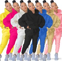 Women Tracksuits 2 Piece Outfits Casual Solid Colour Long Sleeve Hooded Pullover Pencli Pants Suit Ladies Leisure Sweater Sportwear