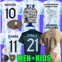 Copa America Finales 2021 Argentine Soccer Jerseys 21 22 Messi di Maria Maria Maria Match Match 200 ans Champions Lo Celso Concept Football Shirt Version joueur