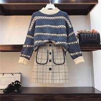 اثنين من قطعة اللباس conjunto de 2 peças pulôfer manga comprida malha + mini saia، jumper saia xadrez، زائد الحجم 3xl z110، primavera e outono 8qz9