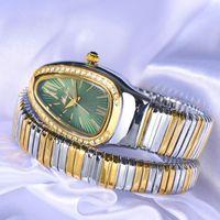 Orologio da polso Missfox Snake Head World WorldWatch oro e argento Braccialetto orologi Lady Green Diam Diamond Fashion Party Donne Quartz