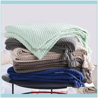 Blankets Textiles Home & Gardencotton Knitting Decoration Concis Modern Nap Sofa Throw Blanket With Tassels,Color Crystal Blue Mint Green1 D