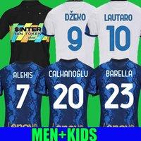 Calhanoglu Lukaku 축구 유니폼 세 번째 멀리 밀라노 Barella Lautaro Eriksen Alexis Hakimi 21 22 Perisic Football Shirts 2021 2022 Inter Men + Kids Kit Tops