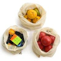 Dozzesy 재사용 가능한 메쉬 가방 유기농 면화 시장 야채 과일 쇼핑백 홈 주방 식료품 저장 가방 Drawstring Bag